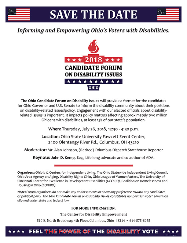 Flyer for Ohio Candidate Forum on Disability Issues. Text of flyer was included in field above.